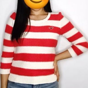 Hollister Orange and White Knit Crewneck Sweater
